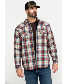 Cody James Men's Nome Plaid Sherpa Bonded Long Sleeve Western Flannel Shirt , Red, hi-res