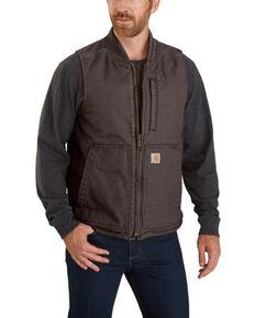 Carhartt Men's Dark Brown Washed Duck Insulated Rib-Collar Work Vest - Tall, Dark Brown, hi-res