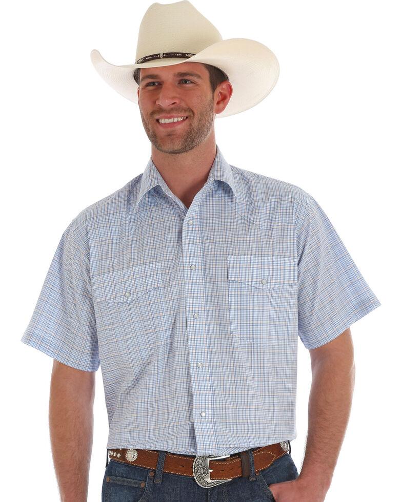 Wrangler Men's Wrinkle Resist Blue Plaid Short Sleeve Snap Western Shirt, Blue, hi-res