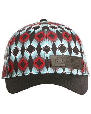 Rock & Roll Cowboy Men's All Allover Aztec Geometric Mesh Cap, Black, hi-res