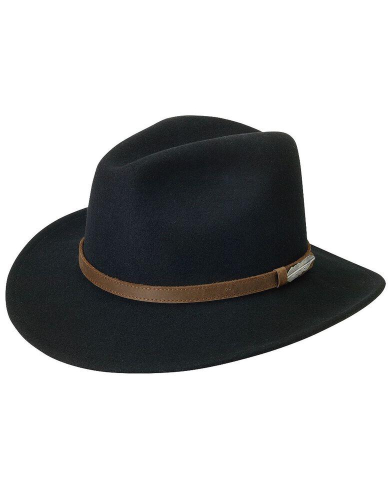Black Creek Small Brim Crushable Wool Felt Hat, Black, hi-res