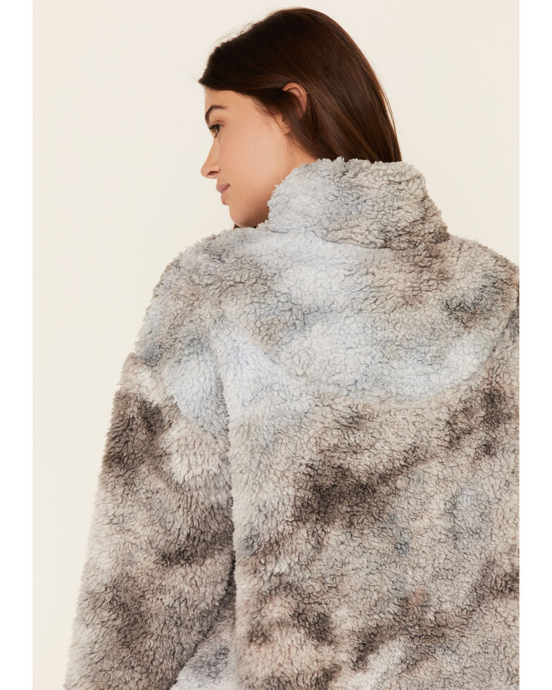 Peach Love Women's Tie-Dyed Sherpa 1/4 Zip Pullover , Grey, hi-res
