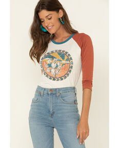 Rock & Roll Cowgirl Women's Circle Cactus Graphic Baseball Tee, Rust Copper, hi-res