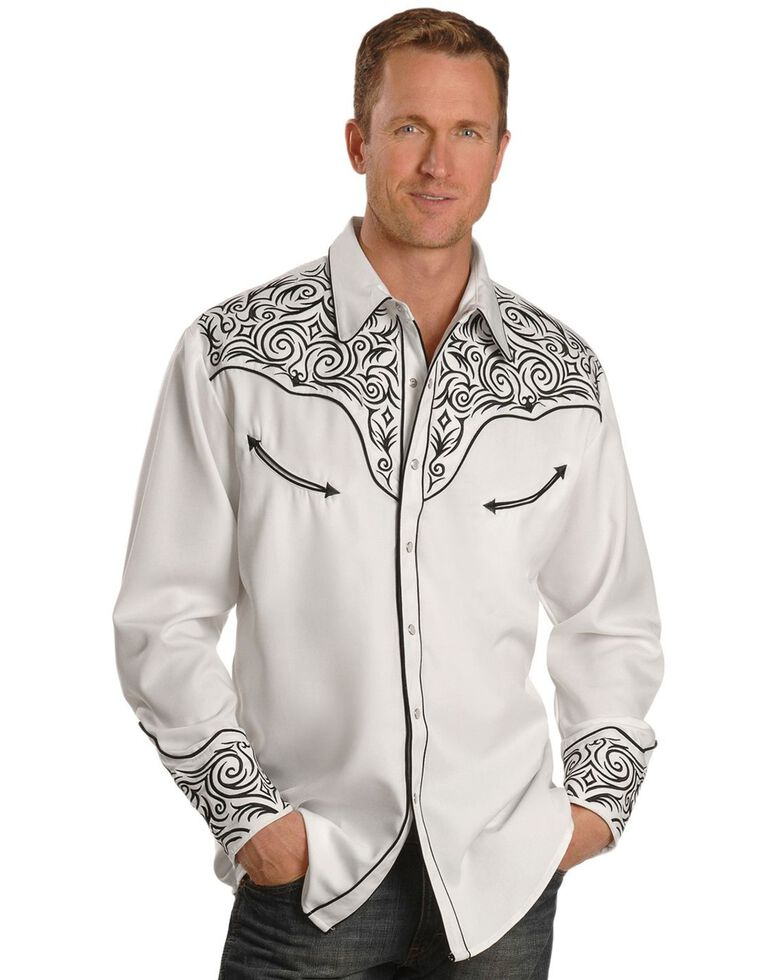 Scully Men's White Floral Embroidered Retro Stitched Long Sleeve Western Shirt , White, hi-res