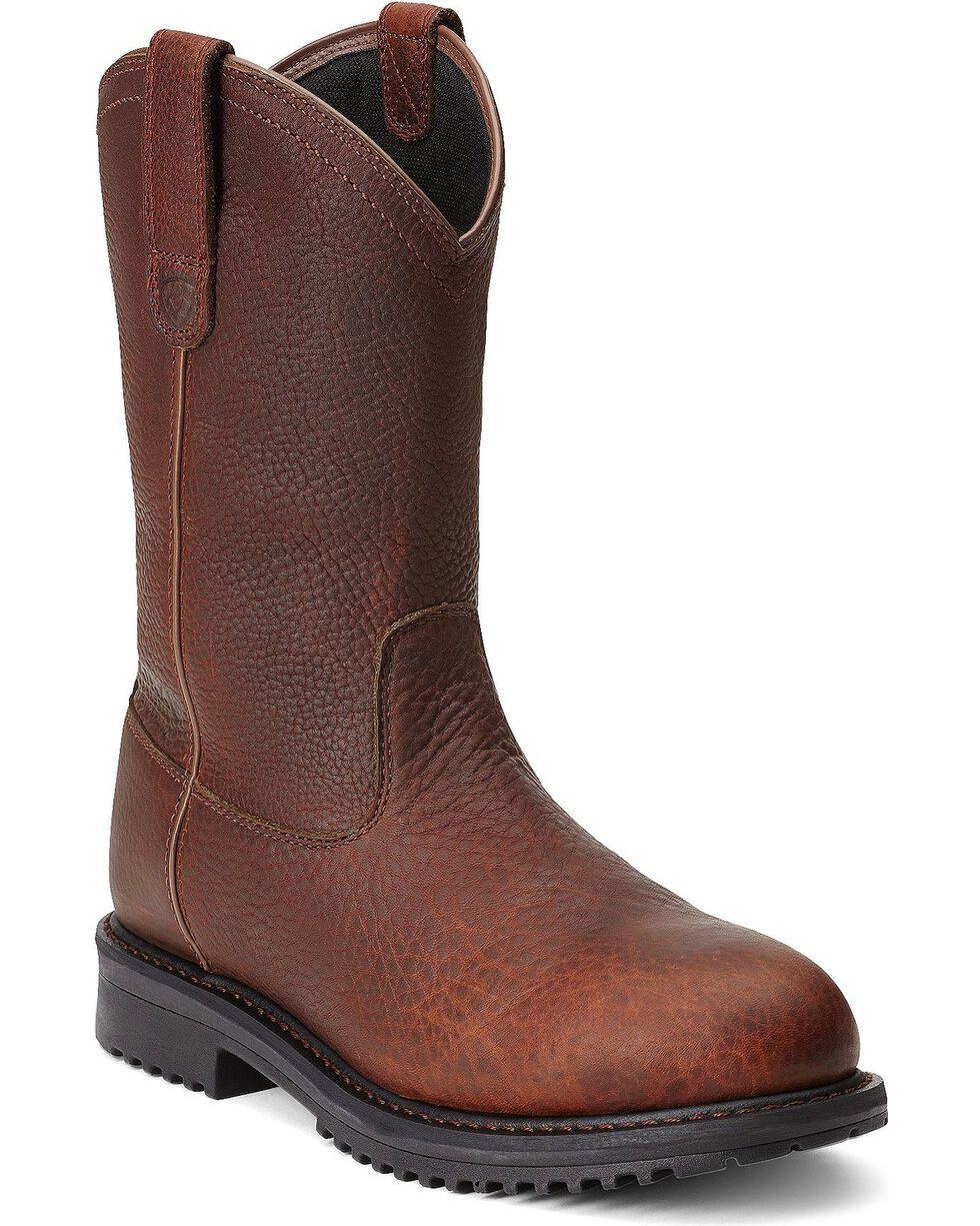 Ariat RigTek Waterproof Pull-On Work Boots - Composite Toe, Brown, hi-res