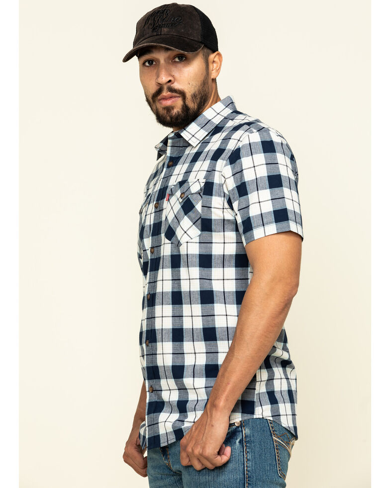 Levi's Men's Blue Multi Knox Plaid Short Sleeve Western Shirt , Multi, hi-res