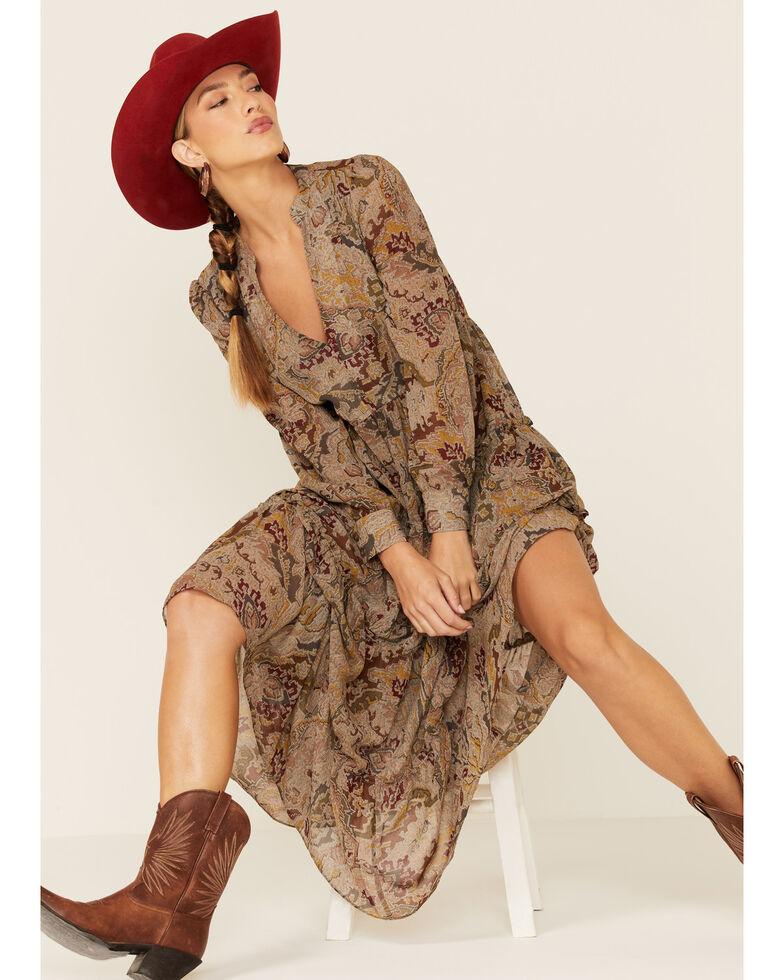 Elan Women's Paisley Tiered Maxi Dress , Taupe, hi-res