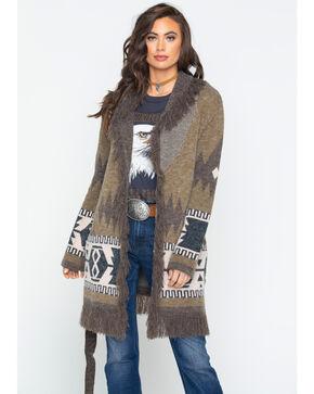 Miss Me Women's Aztec Fringe Cardi Sweater , Olive, hi-res