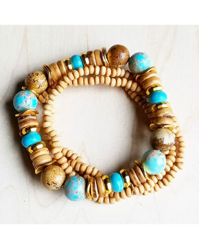Jewelry Junkie Women's Multi-Strand Blue Regalite and Wood Bracelets, Light Blue, hi-res