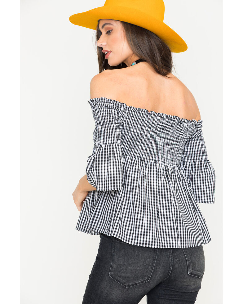 BB Dakota Women's Black Before Sunset Gingham Top, Black, hi-res
