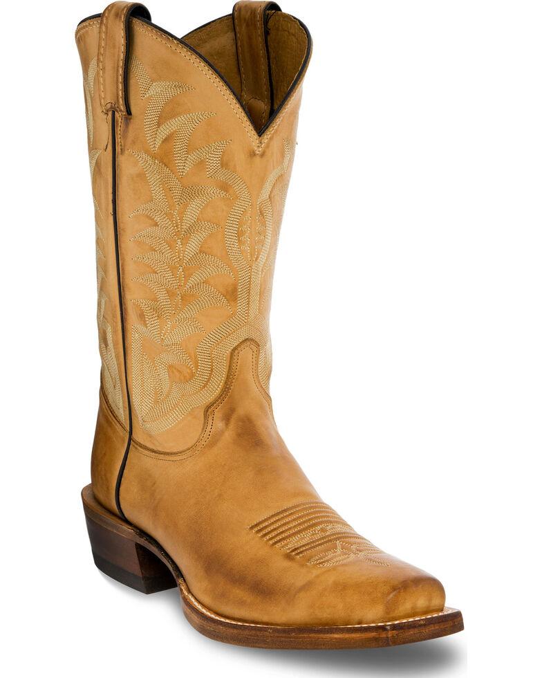 5fb7a75e6e2 Justin Men's Distressed Light Brown Leather Cowboy Boots - Square Toe