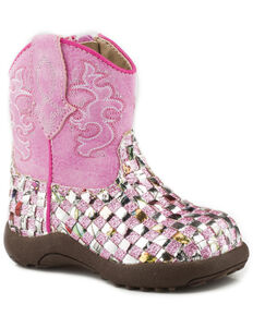 Roper Infant Girls' Glitter Western Braid Cowbabies Boots - Round Toe, Pink, hi-res
