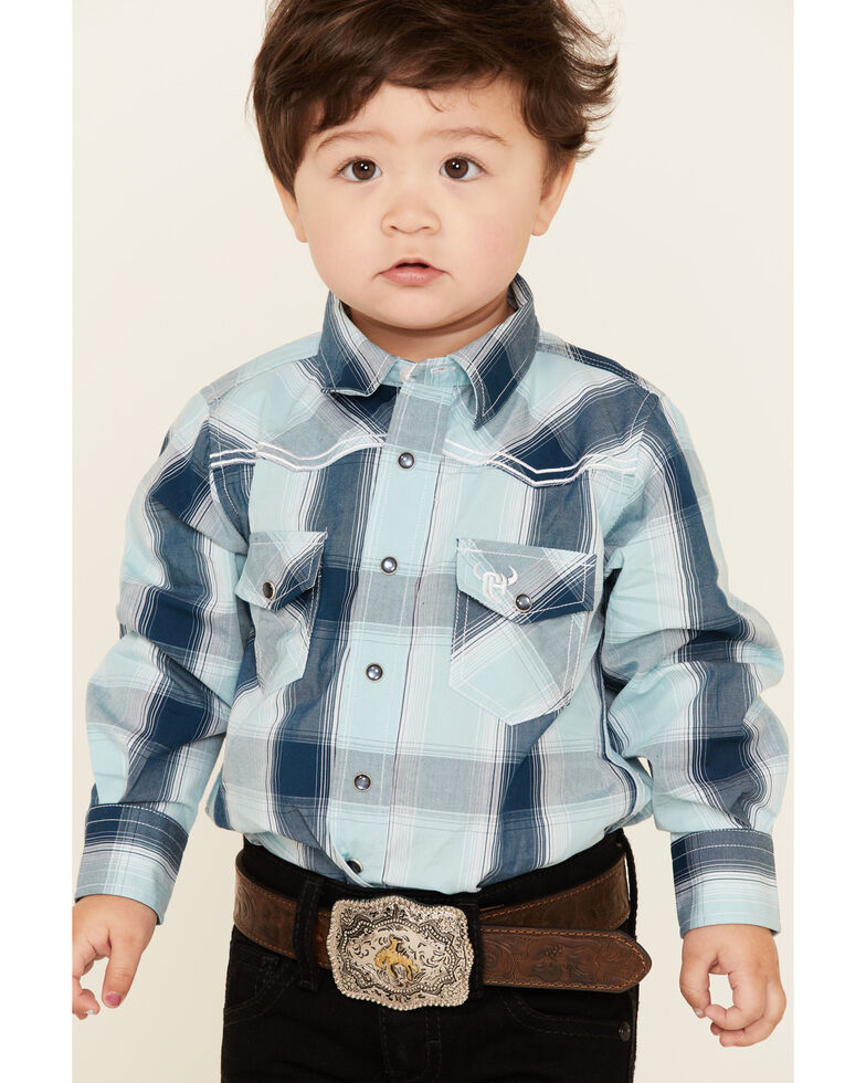 Cowboy Hardware Toddler Boys' Blue Embroidered Plaid Long Sleeve Western Shirt , Steel, hi-res