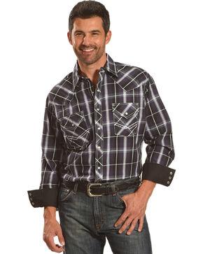 Ely Cattleman Men's Purple Textured Accent Stitch Plaid Shirt , Purple, hi-res