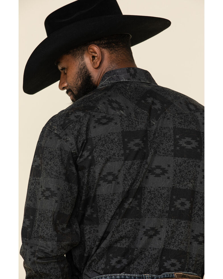 Rough Stock By Panhandle Men's Pierrepoint Southwest Print Long Sleeve Western Shirt , Black, hi-res