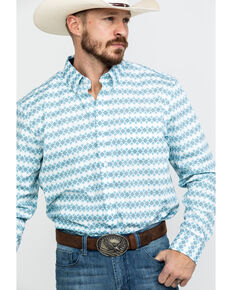 Cody James Core Men's Stryper Geo Print Long Sleeve Western Shirt , White, hi-res