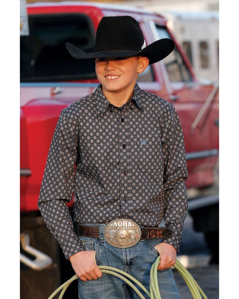Cinch Boys' Grey Dot Geo Print Long Sleeve Western Shirt , Grey, hi-res