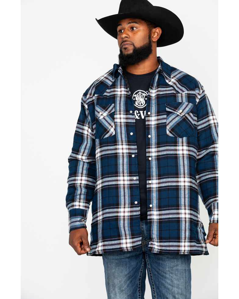 Ely Cattleman Men's Quilted Flannel Long Sleeve Western Flannel Shirt , Blue, hi-res