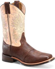 6ec84e832856c2 Double H Men s Brown Leather Cowboy Boots - Square Toe