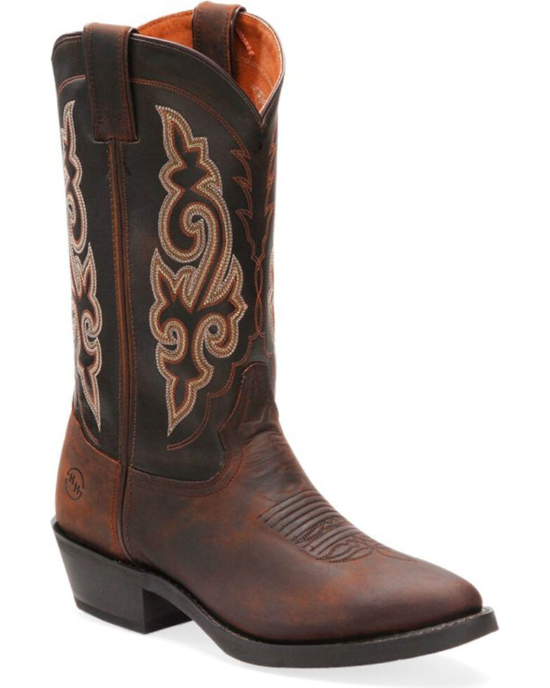 "Double-H Men's Work Western 12"" Work Boots - Round Toe , Distressed Brown, hi-res"