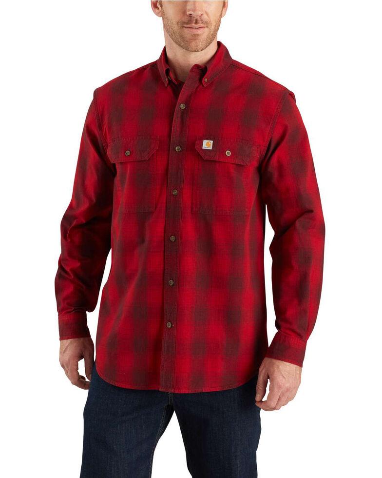 Carhartt Men's Red Fort Plaid Button Long Sleeve Work Shirt - Big, Dark Red, hi-res