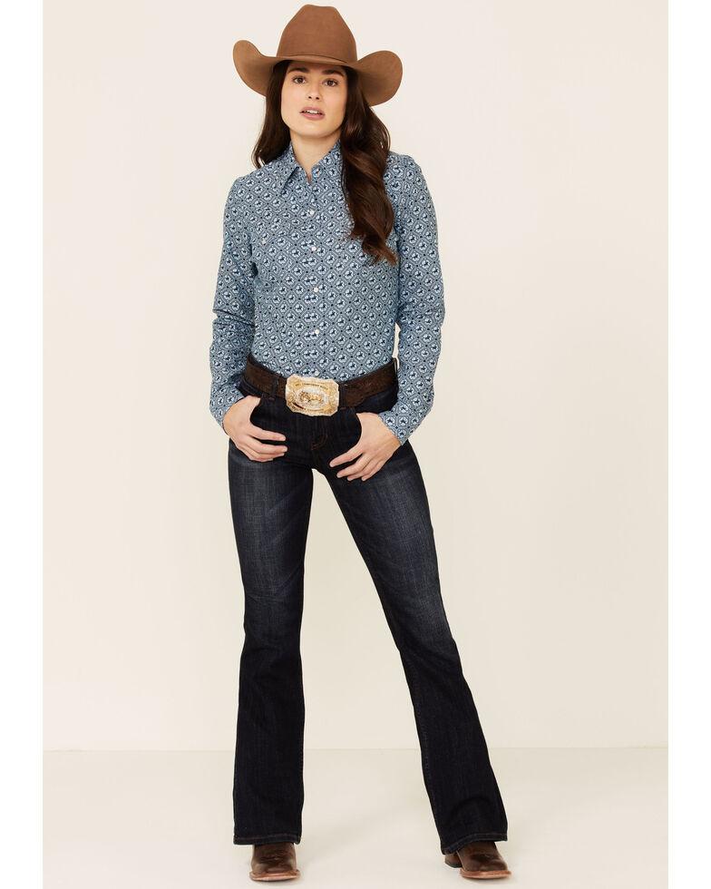 Amarillo Women's Sweet Water Blue Rider Oxford Print Long Sleeve Snap Western Shirt , Blue, hi-res