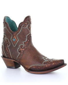 Corral Women's Brown Embroidery Fashion Booties - Snip Toe, Brown, hi-res