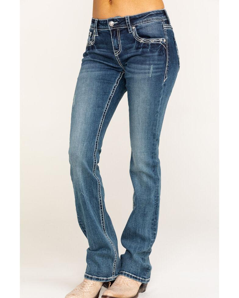 Grace in LA Women's Cross Bootcut Jeans, Blue, hi-res