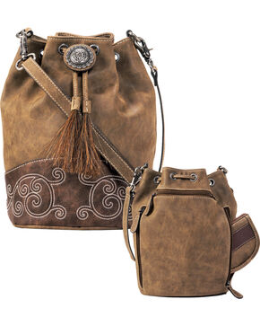 Blazin Roxx Women's Molly Conceal Carry Bucket Bag , Brown, hi-res