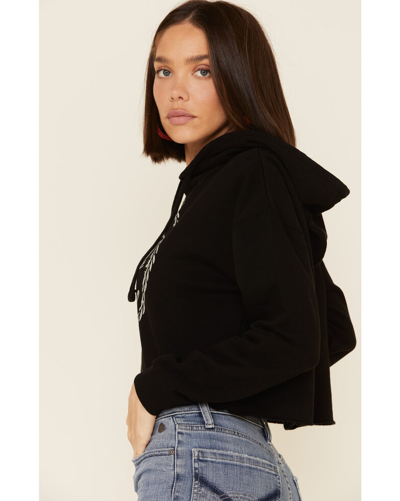 Country Deep Women's Hotter Then A 2 Dollar Cropped Hooded Sweatshirt , Black, hi-res