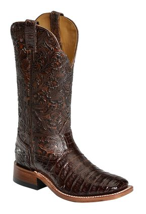 Boulet Chocolate Hand Tooled Caiman Cowgirl Boots - Square Toe, Chocolate, hi-res