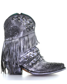 Corral Women's Grey Embroidery & Fringe Western Boots - Round Toe, Black, hi-res