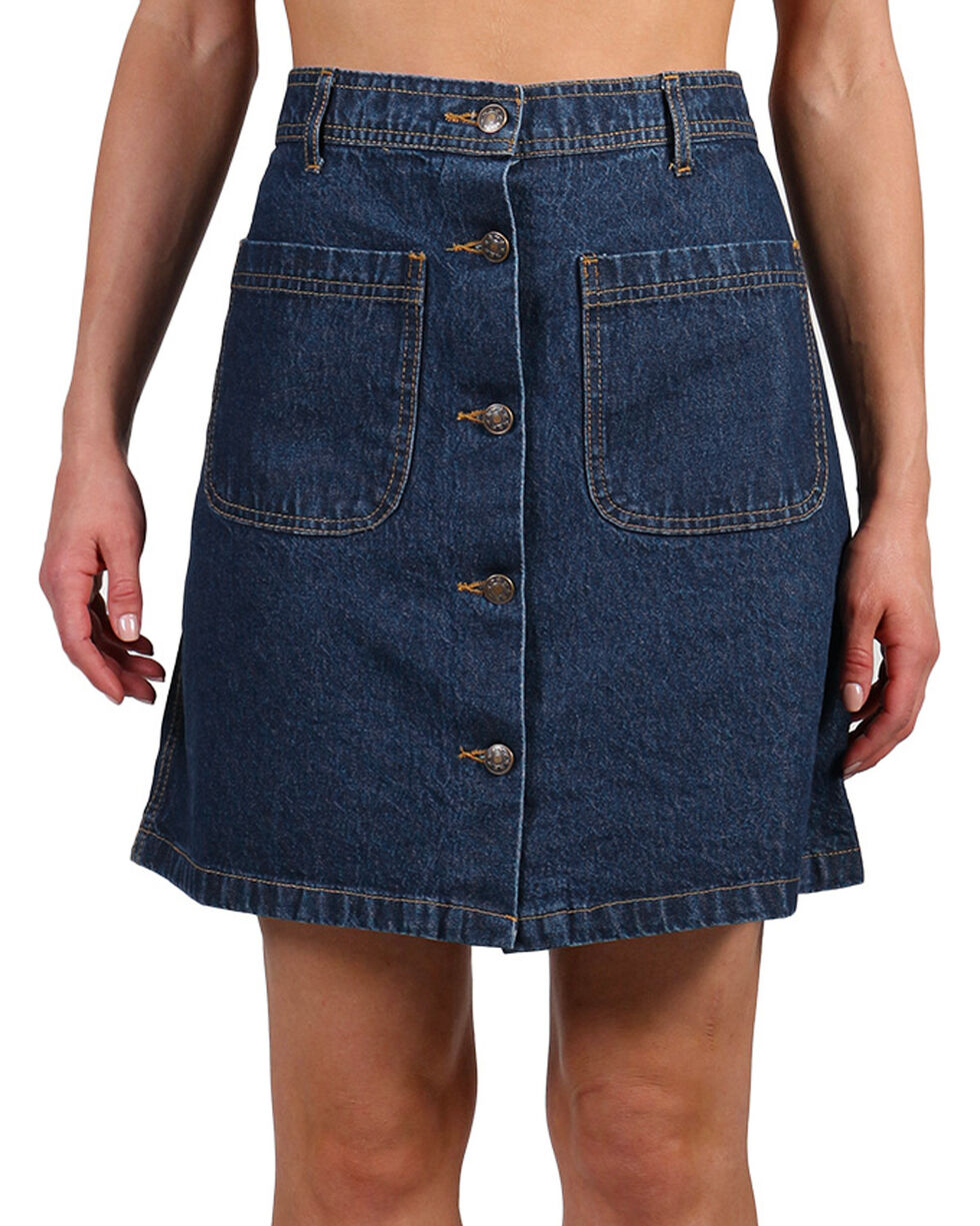 Henna Women's Button Down Denim Skirt, Blue, hi-res
