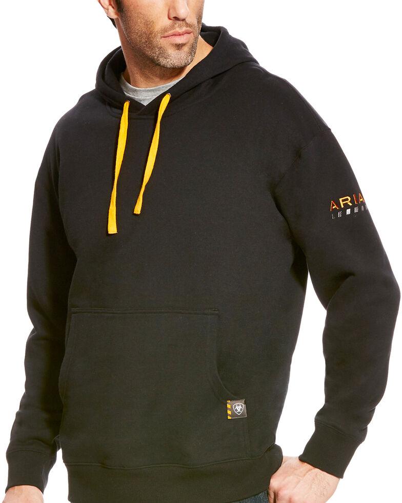 Ariat Men's Rebar Logo Hooded Work Sweatshirt - Big & Tall, Black, hi-res