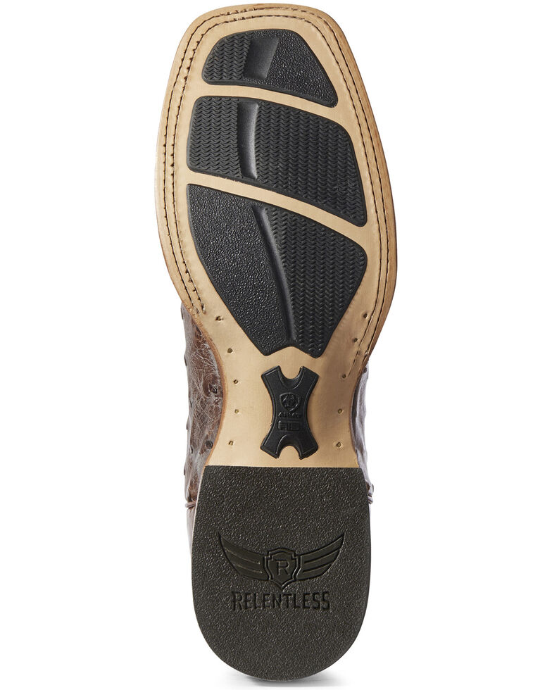 Ariat Men's Victor Full-Quill Ostrich Western Boots - Wide Square Toe, Brown, hi-res