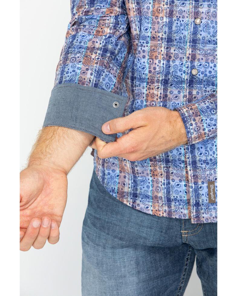Wrangler Retro Men's Paisley Plaid Snap Long Sleeve Western Shirt, Blue, hi-res