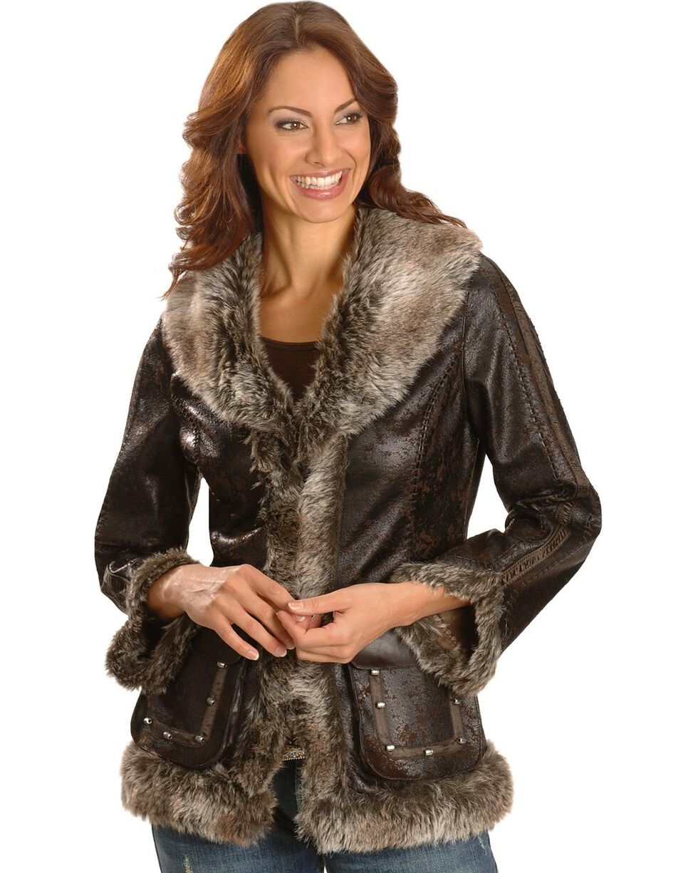 Scully Faux Leather & Fur Jacket, Dark Brown, hi-res