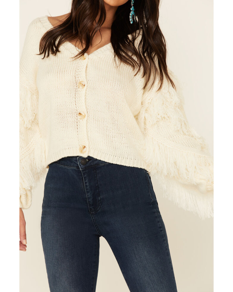 Sadie & Sage Women's Switch Swish Fringe Sleeve Sweater, Ivory, hi-res