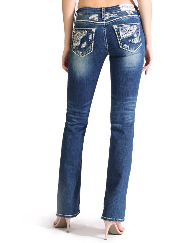 Grace In LA Women's Embellished Patch Pocket Boot Jeans , Blue, hi-res