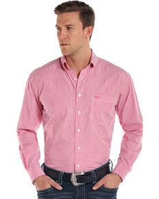 Rough Stock by Panhandle Men's Alford Classic Sport Stripe Shirt , Pink, hi-res