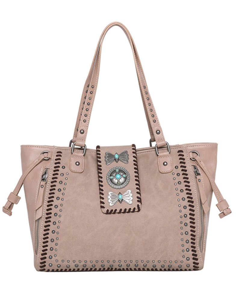 Montana West Women's Wrangler Butterfly Concho Wide Tote Bag, Tan, hi-res