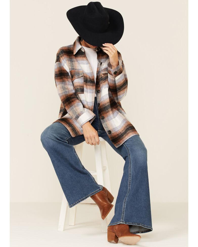 Elan Women's Plaid Shacket, Brown, hi-res