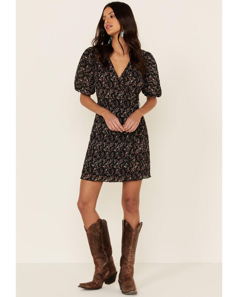 Sadie & Sage Women's Floral Crinkle Surplus Mini Dress, Black, hi-res