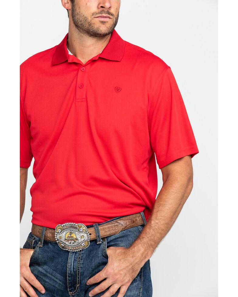 Ariat Men's Crimson Flame TEK Short Sleeve Polo Shirt , Red, hi-res