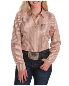 Cinch Women's Orange Striped Long Sleeve Western Shirt , Orange, hi-res
