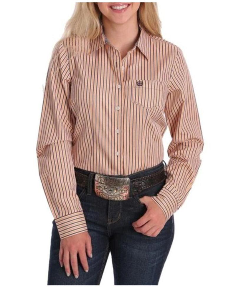 Cinch Women's Orange Striped Long Sleeve Western Shirt , Orange, hi-res