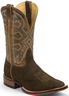 Nocona Brown Hippo Print Let's Rodeo Cowboy Boots - Wide Square Toe , Brown, hi-res
