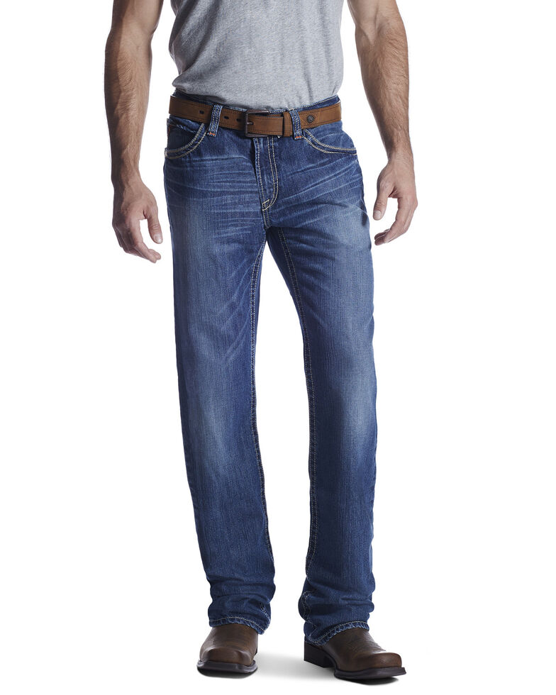 Ariat Men's Flame Resistant M4 Ridgeline Bootcut Work Jeans - Big , Blue, hi-res