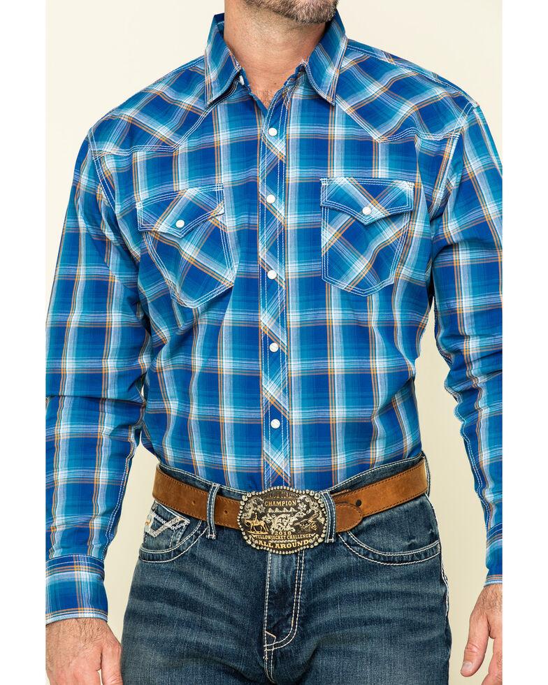 Wrangler 20X Men's Advanced Comfort Blue Large Plaid Long Sleeve Western Shirt , Blue, hi-res
