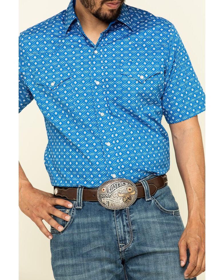 Ely Walker Men's Multi Aztec Geo Print Short Sleeve Western Shirt - Tall, Blue, hi-res